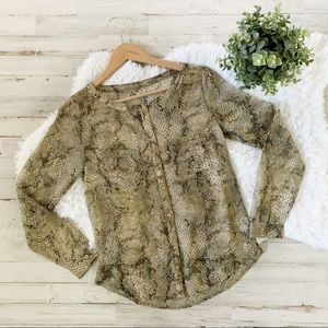 Urban Outfitters Ecote Snakeskin Button Down Top